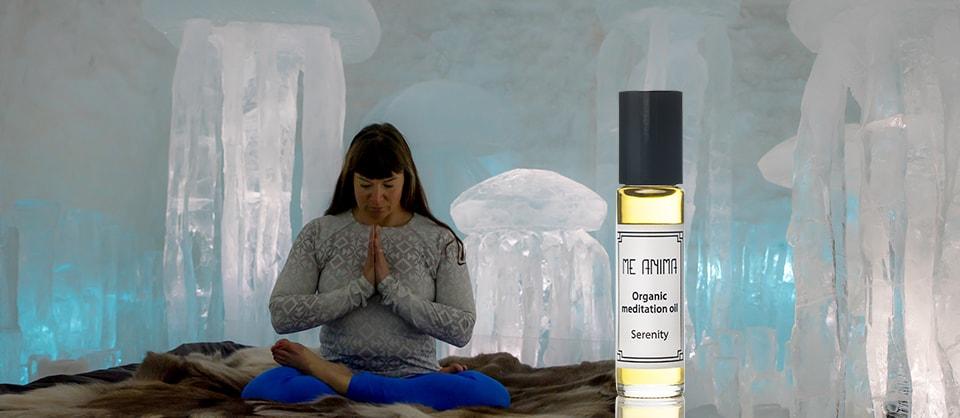 Lisa Hansson på Maitri movement mediterar, Ishotellet. Fotograf Ante Skaulu. Bildkollage Me Anima.